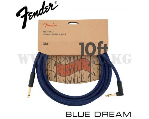 Инструментальный кабель Fender Angled Festival Blue Dream (3м)