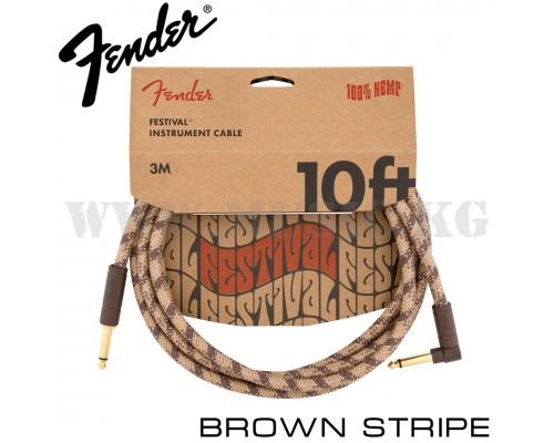 Инструментальный кабель Fender Angled Festival Brown Stripe (3м)