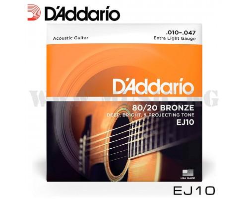 Струны для акустической гитары D'Addario EJ10
