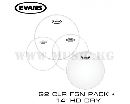 "Набор пластиков Evans G2 Clear Fusion Pack 10"", 12"", 14"" и бонусный 14"" HD Dry Snare Batter."
