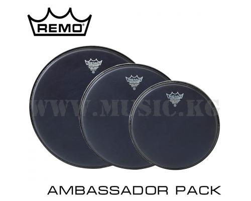 "Набор пластиков Remo 12/13/16"" Ambassador Black Suede Tom Pack"